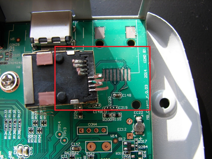 На клиентском ресивере Триколор GS_C591 оторван от платы разъём LAN