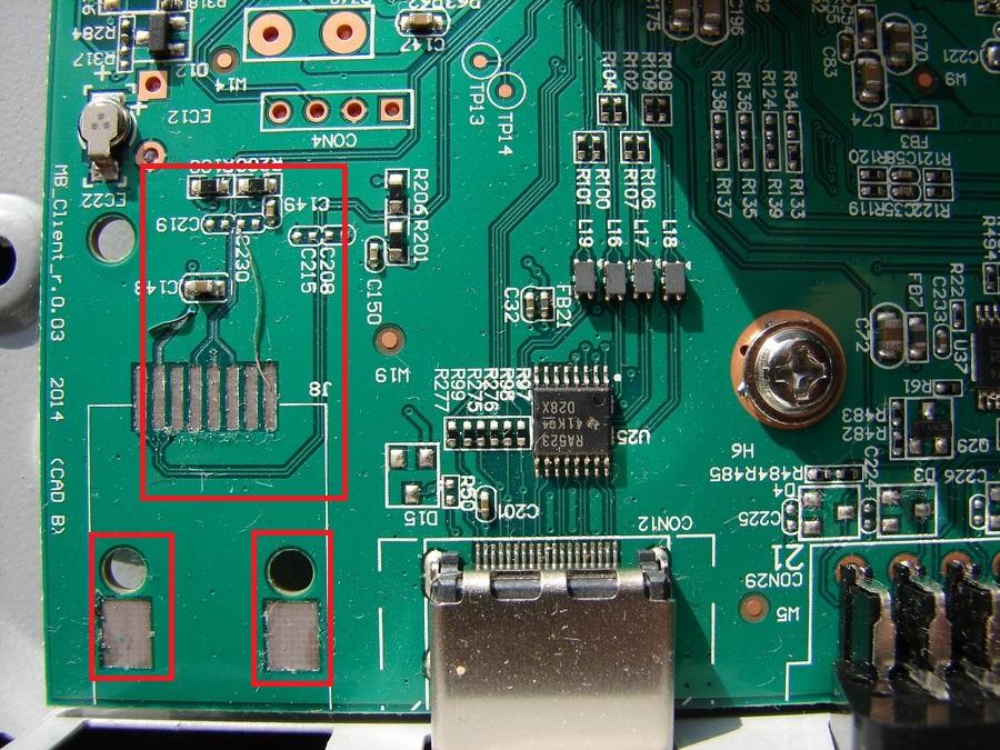 На клиентском ресивере Триколор GS_C591 повреждены токопроводящие дорожки