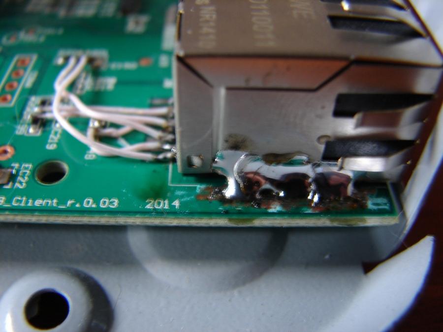Ремонт ресивера GS_C591 - подпайка разъёма LAN парочкой хороших швов припоя