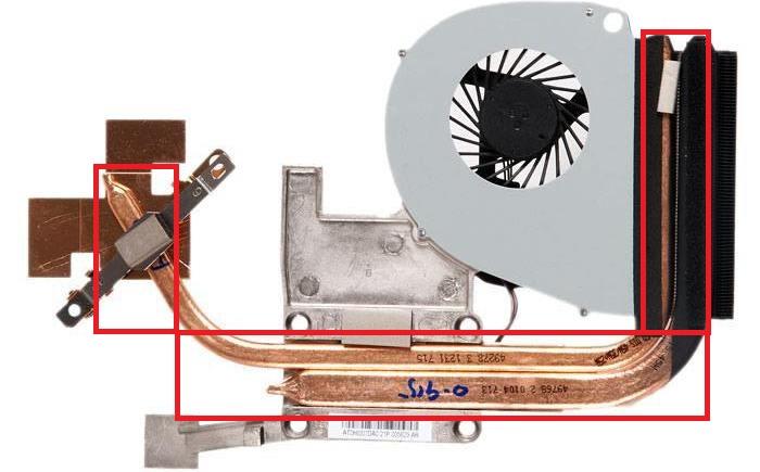 Рассматриваем образец системы охлаждения - на изображении отмечены тепловые трубки