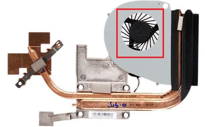 Рассматриваем образец системы охлаждения - на изображении отмечен вентилятор