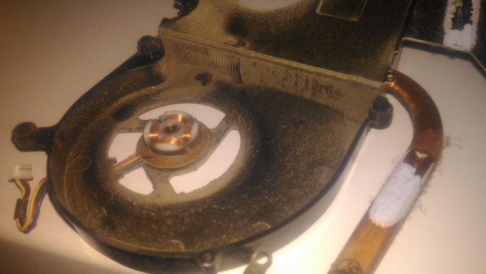 А этот радиатор шерстью не загрязнен - но большое количество мелкой пыли сделало свое дело. Здесь видим, что вентилятор системы охлаждения отсутствует - он снят для прочистки.
