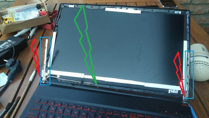 Ноутбук MSI GL63 8RC - зелёным высота всей матрицы, красным - высота рёбер жёсткости. Синим - сами рёбра жесткости выделены. И они - эти рёбра - должны доходить до верхнего края матрицы.