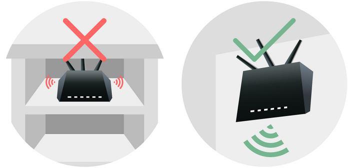 Не стоит прятать роутер в мебель - это снизит интенсивность сигнала, достигающего клиентских устройств